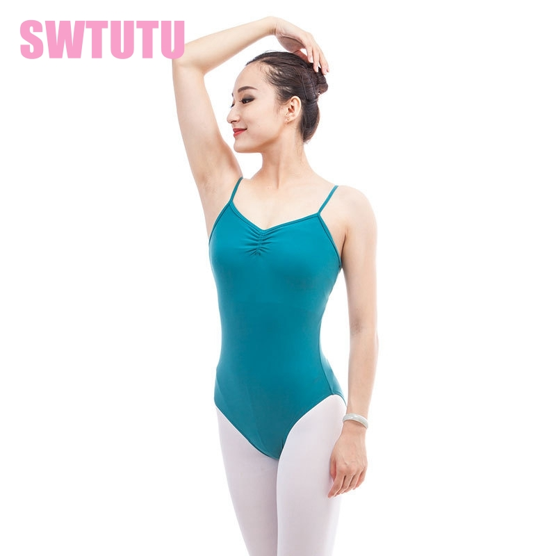 women green dance leotard backless sleeveless adult practicing ballerina dance costume for sale ML6032