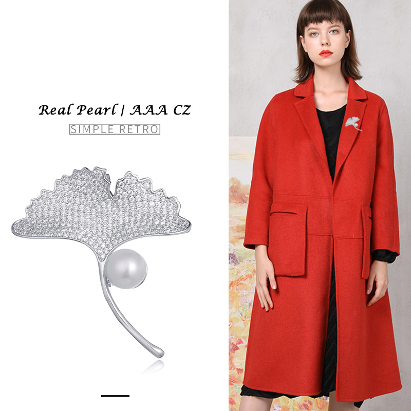 Hongye 2018 Natural Freshwater Pearl Brooches Silver Ginkgo biloba Pin Brooch for Women Wedding Dress Badge Accessories Jewelry