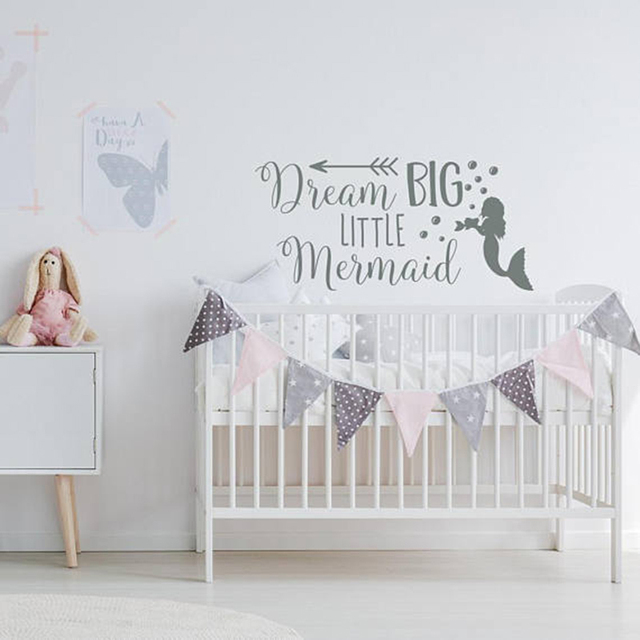 Dream Big Little Mermaid Wall Decal Cartoon Mermaid Wall Stickers For  Nursery Quotes Wall Decals Girls