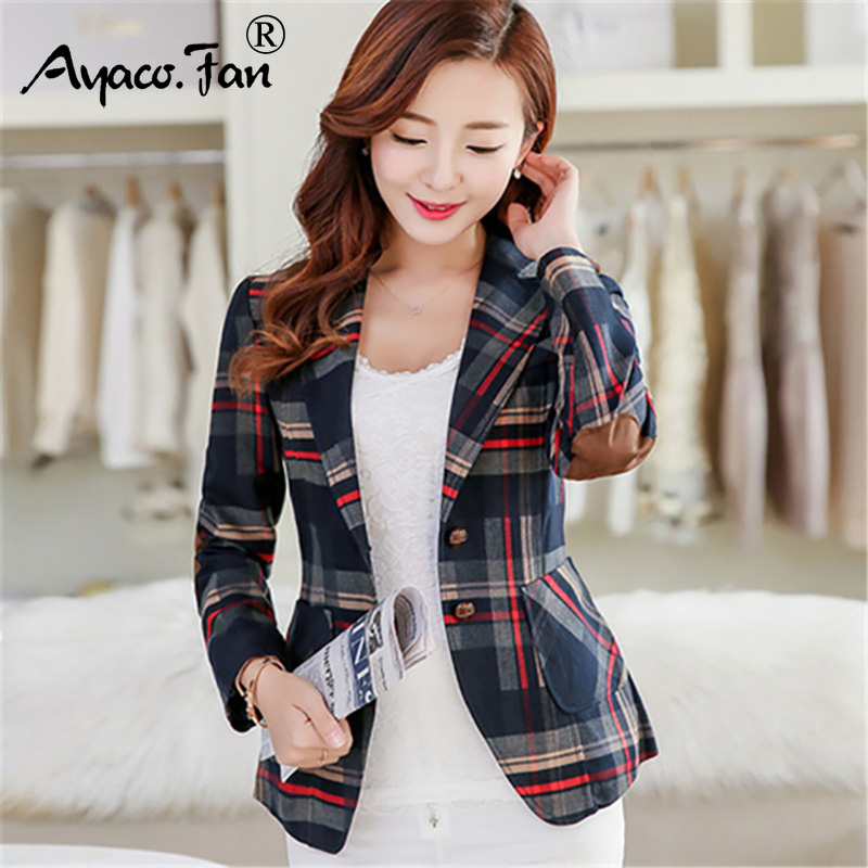 Autumn Winter Jacket Blazers New Fashion Women Plaid Blazer Casual Wear Full Sleeve Coats Feminine Clothes Ladies Top Outwear