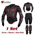 Herobiker conjunto combinación body armor motocicleta chaquetas + rodillera protectora + short pantalones motocross armadura de protección de carreras