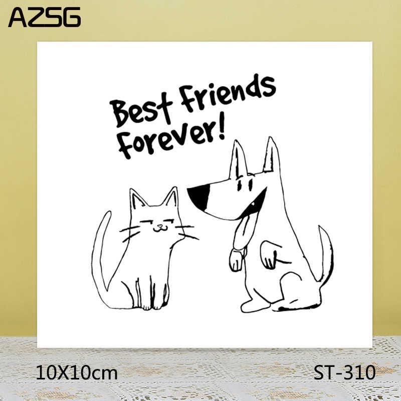 AZSG mejores amigos siempre sellos/sellos para scrapbooking DIY tarjeta fabricación/álbum decoración de silicona artesanías 10*10cm