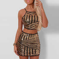 Mulheres sexy vestido de lantejoulas verão vestido de duas peças vestido de bandagem vestidos de verano moda feminina sem costas lápis bandagem glitter