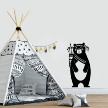 Free Shipping Tribal Bear Vinyl Wall Stickers Decor For Kids Rooms Nursery Room Decoration Decals Wallstickers