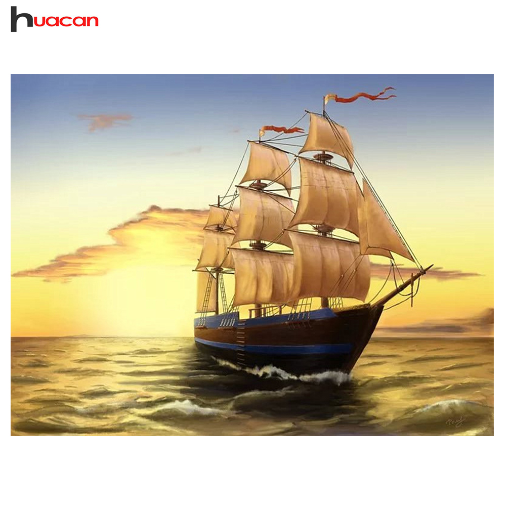 HUACAN Full Resin Diamond Painting Cross Stitch Ship Unfinished Wall ...
