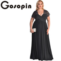 Gosopin Big Women Black Lace Yoke Ruched Twist High Waist Plus Size Gown LC61025 Sexy Short