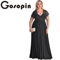 Gosopin Big Women Black Lace Yoke Ruched Twist High Waist Plus Size Gown LC61025 Sexy Short