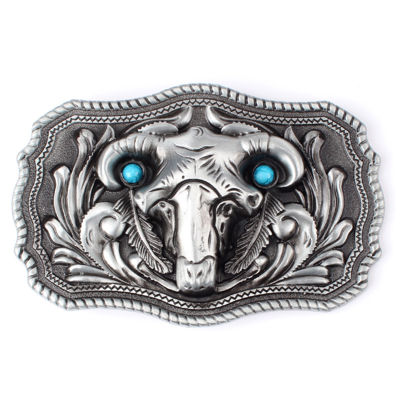 Tang Grass Pattern Stereoscopic Bull Head Belt Buckle Smooth Buckle Spot Small Wholesale