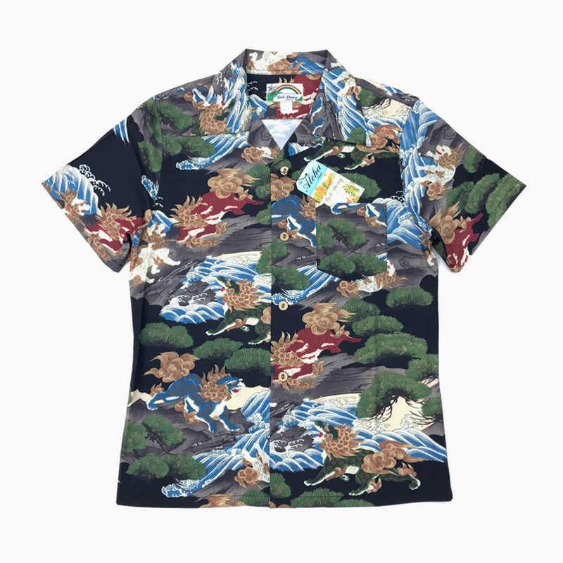 78dff4747 BBD Hawaii Aloha Shirts Mens Short Sleeve Casual Shirt Pine Tree Don Lion  Pattern Camisa Masculina
