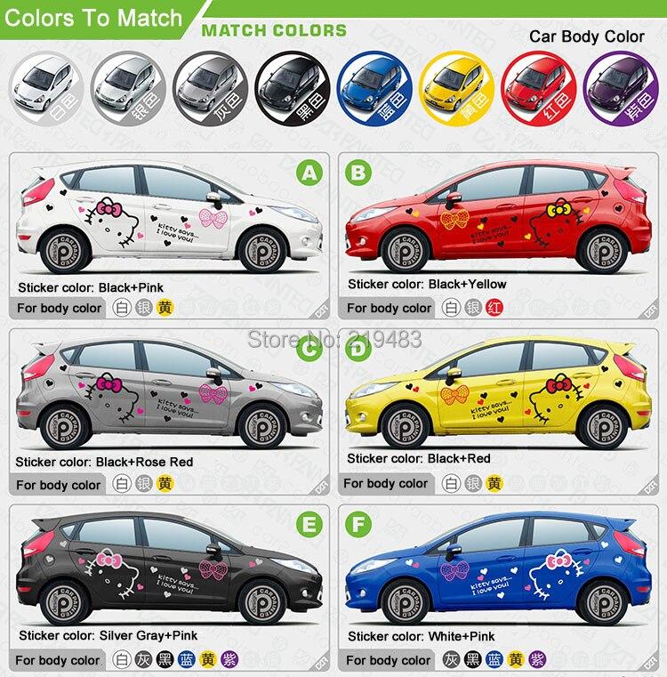 Whole Car Sticker Design Cute Kitty Cat Car Body Sticker Hood ...
