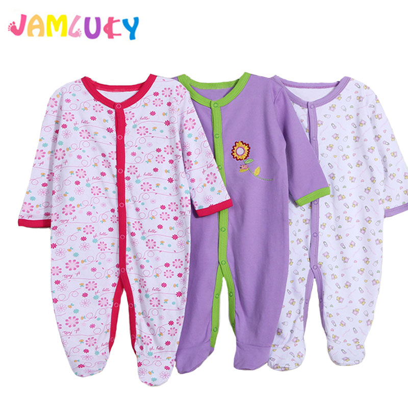 3pcs Baby Girl Romper Newborn Sleepsuit Flower Baby Rompers 2019 Infant Clothes Long Sleeve Newborn Jumpsuits Baby Boy Pajamas