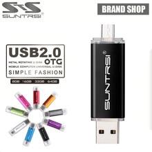 Suntrsi USB Flash Drive 64GB Metal OTG Pendrive External Storage Pen Drive Micro USB for Smart Phone USB Stick Flash Drive Stick