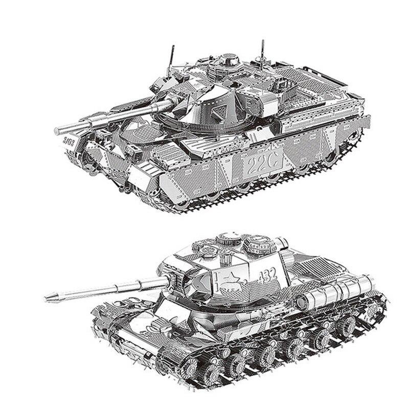 2pcs Set HK Nan Yuan 3D Metal Puzzle JS-2 Tank And Chief Tank MK50 DIY Laser Cut Puzzles Jigsaw Model Toys For Adult Kids Gift
