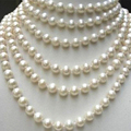 Fashion jewelry making long chain necklace 8-9mm natural white freshwater cultured round pearl beads party gifts 100inch MY4530