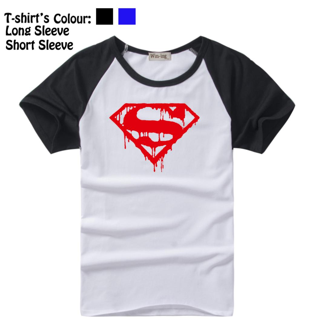 Desain t shirt racing - Melting Marvel Superhero Superman Pola Kebugaran Desain Panjang Lengan Pendek T Shirt Pria Boy Tee