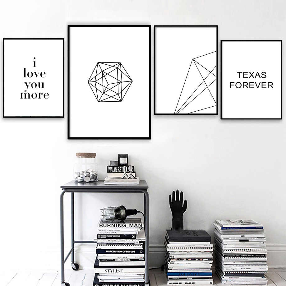 Geometric Line Love Quote Landscape Wall Art Canvas Painting Nordic Posters And Prints Wall Pictures For Living Room Wall Decor
