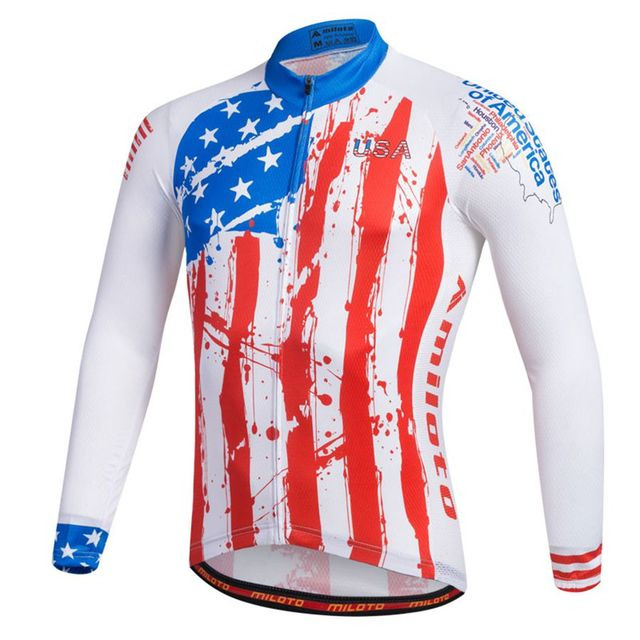 USA Shirt Miloto Men Long Sleeve Cycling Jersey cycling clothing maillot ciclismo  roupa ciclismo Quick Dry MTB Bike Jersey Top 96e2ef427
