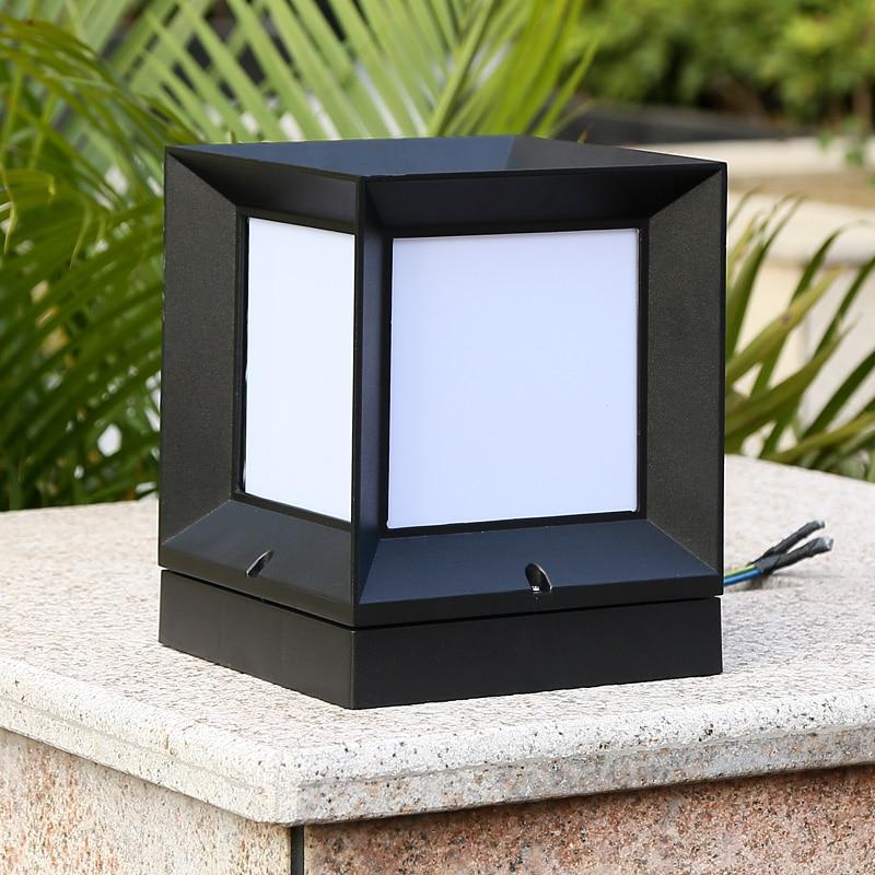 Aluminum waterproof outdoor pillar lamp front door fence for Landscape pillar lighting