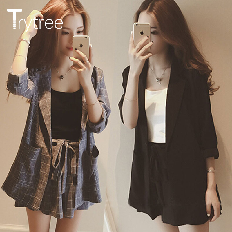 Trytree  Summer Autumn Women Two Piece Set Casual Tops + Shorts Plus Size Plaid Top Female Office Suit Set Women's 2 Piece Set