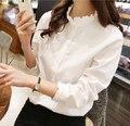 2015 New White Shirt Women Ruffled Collar Long Sleeve Body shirt Slim shirts blouses S M L XL
