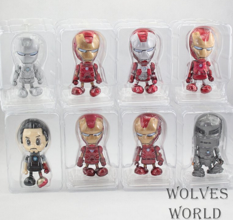 8-10cm 8pcs/set Iron Man Action Figures PVC brinquedos Collection Figures toys for christmas gift with Retail box iron man action figure mini egg attack light 6pcs set action figures pvc brinquedos collection figures toys for christmas gift