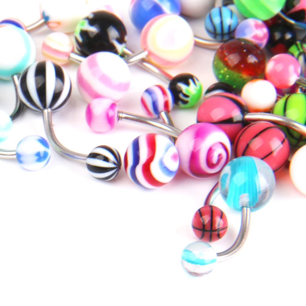 50pcs Stainless Ball Bar Ear Studs Navel Button Ring Body Piercing Jewelry