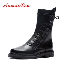 AnmaiRon  Basic Round Toe Lace-Up Winter Boots Women Ankle for Zapatos De Mujer Size 34-40 ZYL1573