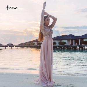 Image 3 - 댄스 파티 드레스 파티 긴 소매 크리스탈 손으로 구슬 섹시한 시스루 a 라인 신부 들러리 드레스 Robe de Soiree Finove