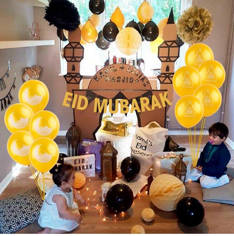 New Happy Ramadan Table Cloth and Eid Mubarak Banner Party Decorations Home Islam Ramadan decoration Cover Eid Mubarak Balloons