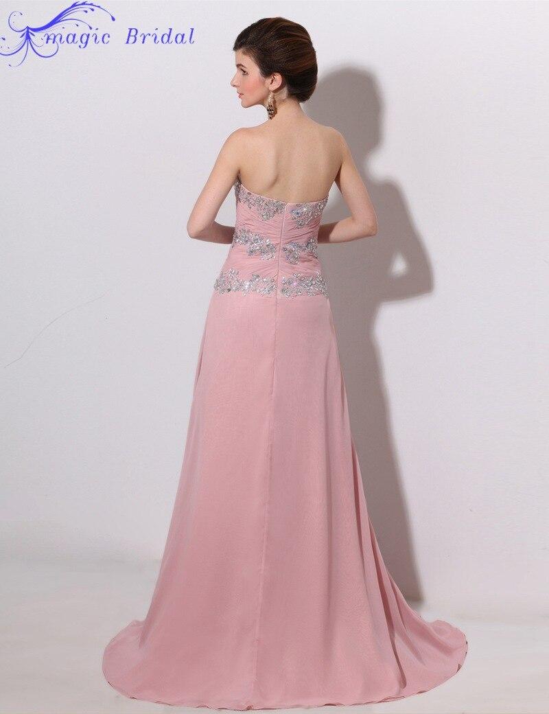 Rhinestone plisado rosa vestido de noche largo con raja del colmo ...