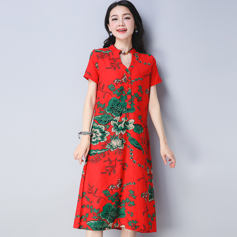 2018 New Summer Women Long dress Loose V-Neck Cotton And Linen National Wind A Word Dresses Red Purplish Blue 8641