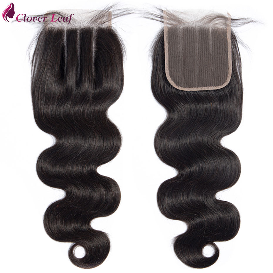 Brazilian Body Wave Lace Closure 4x4 Density 130% 100% Human Hair  Medium Brown Lace Free Middle Three Part Remy Hair Free Ship