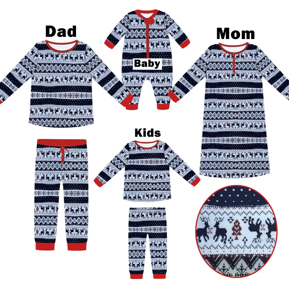 PopReal Navy Blue Reindeer Print Family Matching Clothes Christmas Pajamas Mommy and me Clothes mother daughter nightgowns