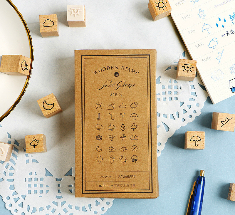 28pcs/lot Creative Cute Weather Stamps Cool Wooden Stamp Gift DIY Journal Diary Sticker Deco Supplies