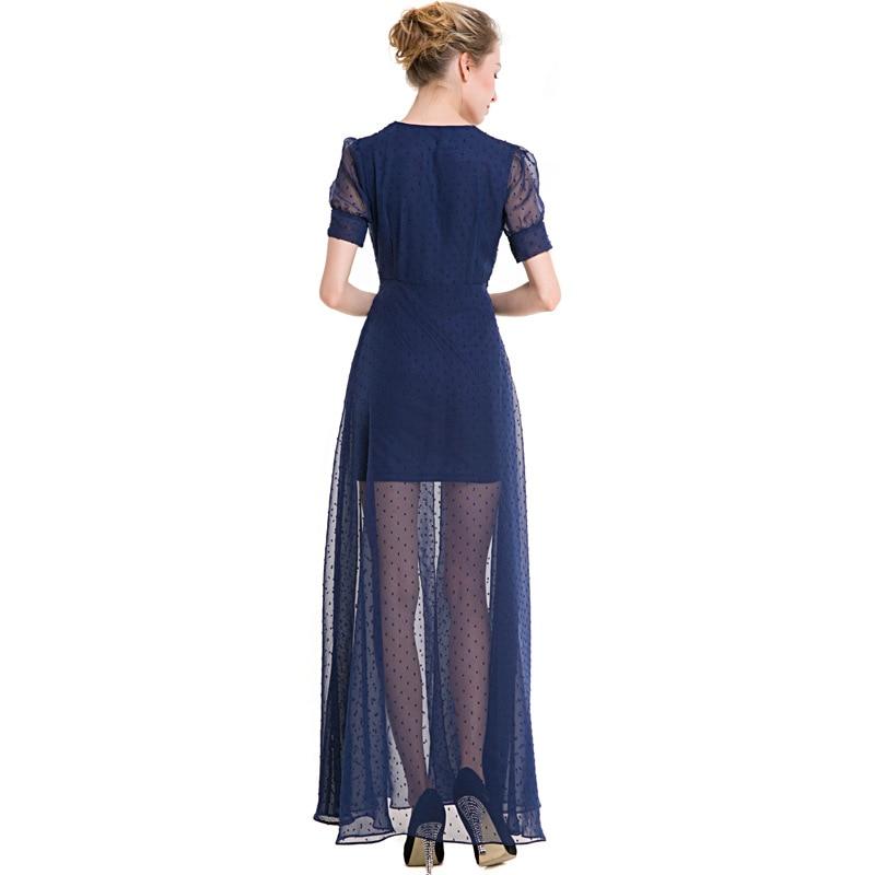 New One-piece Elegant Spring Summer Dress Women Bohemian Chiffon Lace Long  Dress Ankle-length Evening Party Office Beach Dress 7688638c5c6f