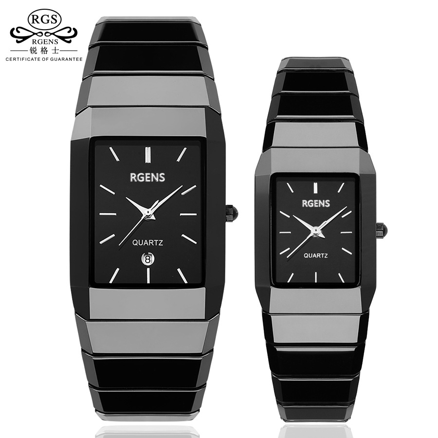 Luxury Ceramic square font b watches b font for women mens couple clocks black men s