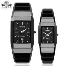 Cuadrado De Cerámica de lujo relojes para mujer para hombre pareja relojes negro hombres de las mujeres relojes de pulsera de cuarzo señoras impermeables hombre relojes