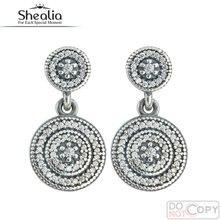 Shealia elegancia radiante cz micro pave stud pendientes para las mujeres de ley 925 de plata pendientes de la joyería para las mujeres 2016 de primavera ear042