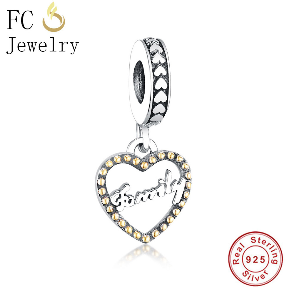 FC Jewelry Fit Original Pandora Charms Bracelet Essence 925 Silver Letter Family Love Pendant Beads for Making DIY Gift Berloque