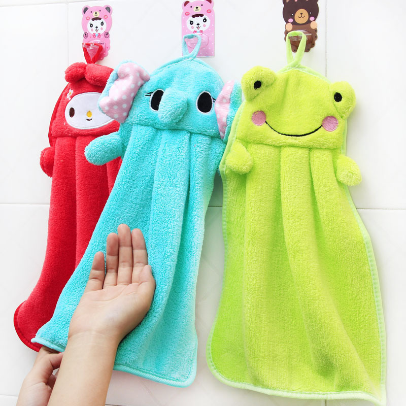 TCHY Cartoon Baby Hand Towel Soft Children Animal Hanging Wipe Bath Face Towel Colorful Kitchen for Kids Strong water absorption