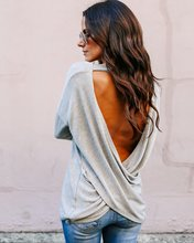 S-XL new o neck long sleeve t shirt tops autumn winter backless street style casual leisure t-shirt