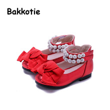 Bakkotie 2017 New Fashion Spring Autumn Baby Girl Child Casual PU LeatherKid Brand Toddler Leisure Princess Shoe Rhinestone Bow