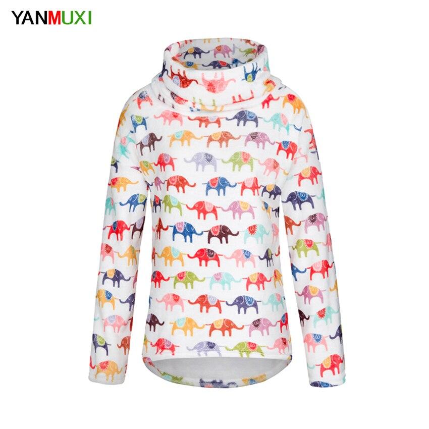 2017 Herbst Winter Sweatshirt Lässige Kleidung Schal Kragen Harajuku Vintage Elefanten Übergroßen Lose Hoodies