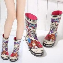 Cute Cartoon Mädchen Regen Stiefel Weibliche Gummirain Thermische Rutschfeste Regen Schuhe Overstrung Mittleren Regen