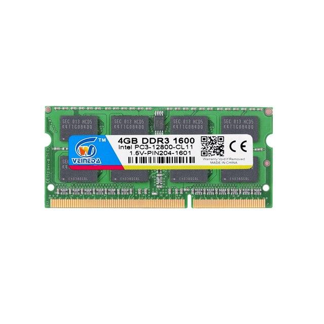 VEINEDA оперативная память ddr3 4 гб sodimm ddr3 1600 оперативная память для ноутбука Intel amd 4 гб ddr3 1333 204pin 1