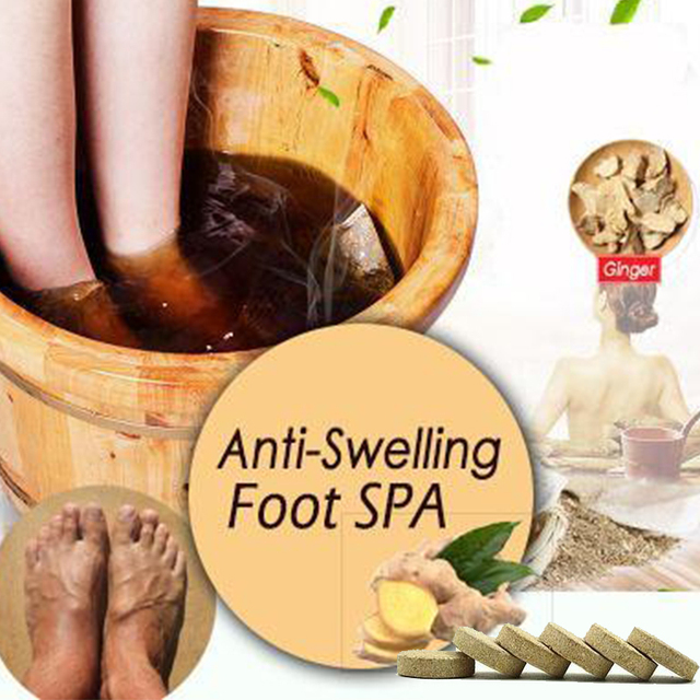 10pcs Anti-Swelling Foot SPA Ginger Foot Soaking Massage Effervescent Tablets Treatment for Foot Swelling Edema Ankle And Pain