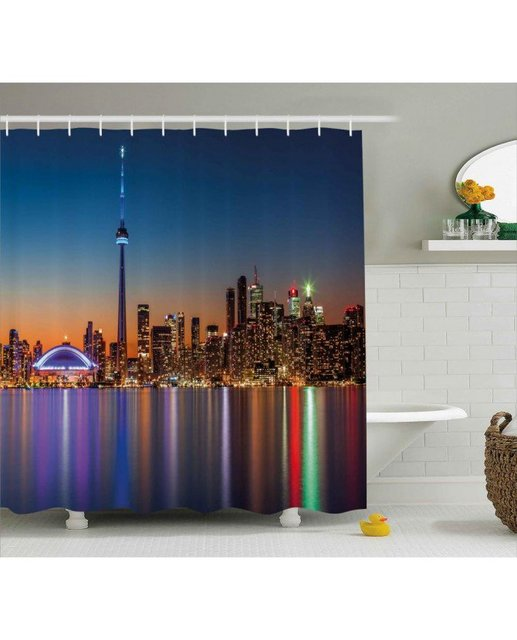 dark blue shower curtain. Dark Blue Shower Curtain Toronto Urban City Print For BathroomWaterproof  And Washable Fabric With Hooks