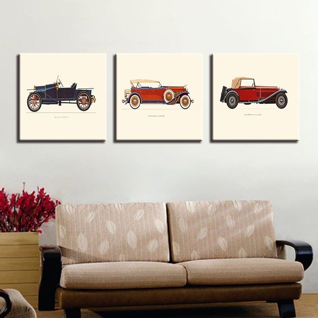 Canvas Wall Art Pictures Framework Kids Home Decor Living Room 3 Pieces Hot Rod Vintage Car