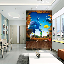 beibehang 3d dolphin wallpaper background wall tv underwater world wall painting bedroom living room home decoration wallpaper