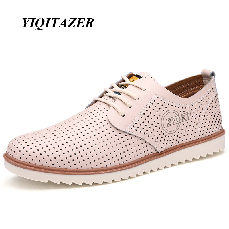 YIQITAZER 2017 New Summer Fashion Casual Shoes Men,Breathable Cool Lace up High Quality Man Leather Shoes Size 7-9.5 2017 new spring imported leather men s shoes white eather shoes breathable sneaker fashion men casual shoes